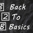Acronym of B2B for Back to basics written on a smudged blackboard — Stock Photo