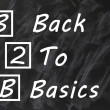 Stock Photo: Acronym of B2B for Back to basics written on a smudged blackboard