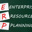 Stock Photo: Chalk drawing of ERP acronym for Enterprise Resource Planning