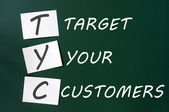 'Target your customers' concept written with white chalk on a blackboard — Stock Photo
