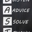 Acronym of LAST for listen, advice, solve, thank — Stock Photo