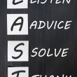 Acronym of LAST for listen, advice, solve, thank - Stock Photo