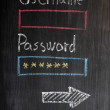 Login design on chalkboard with username and password — Stock Photo