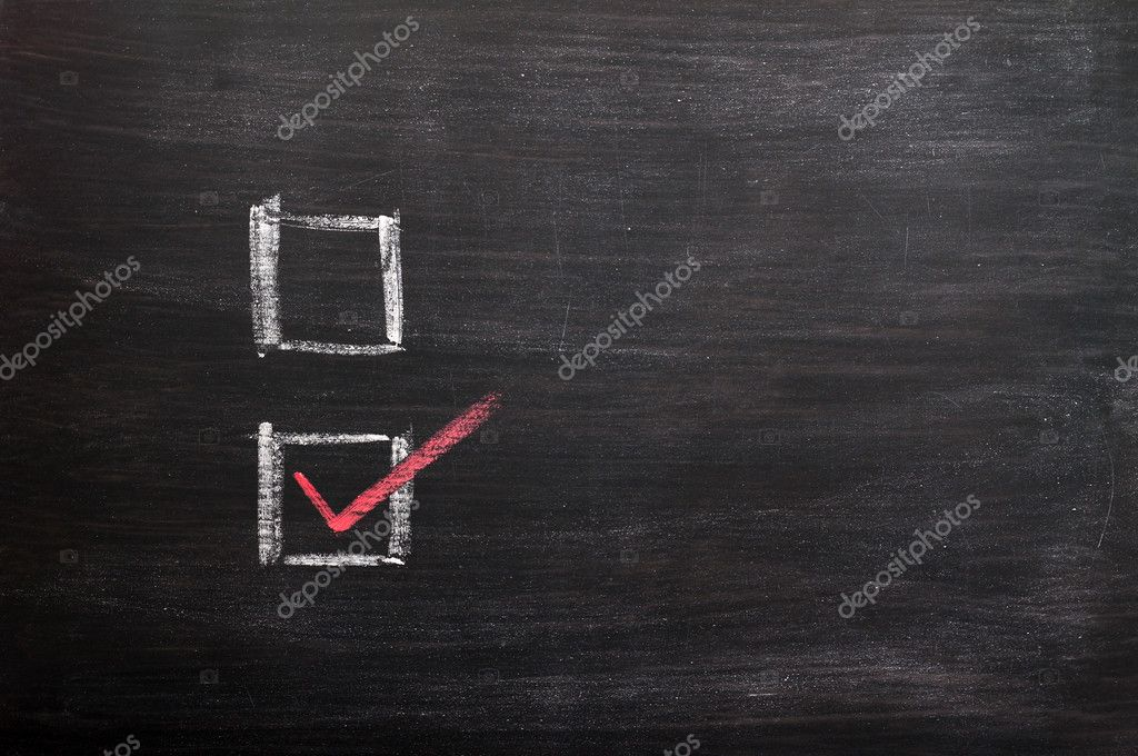 Check boxes with a red tick written with chalk on a smudged blackboard — Stock Photo #11433342