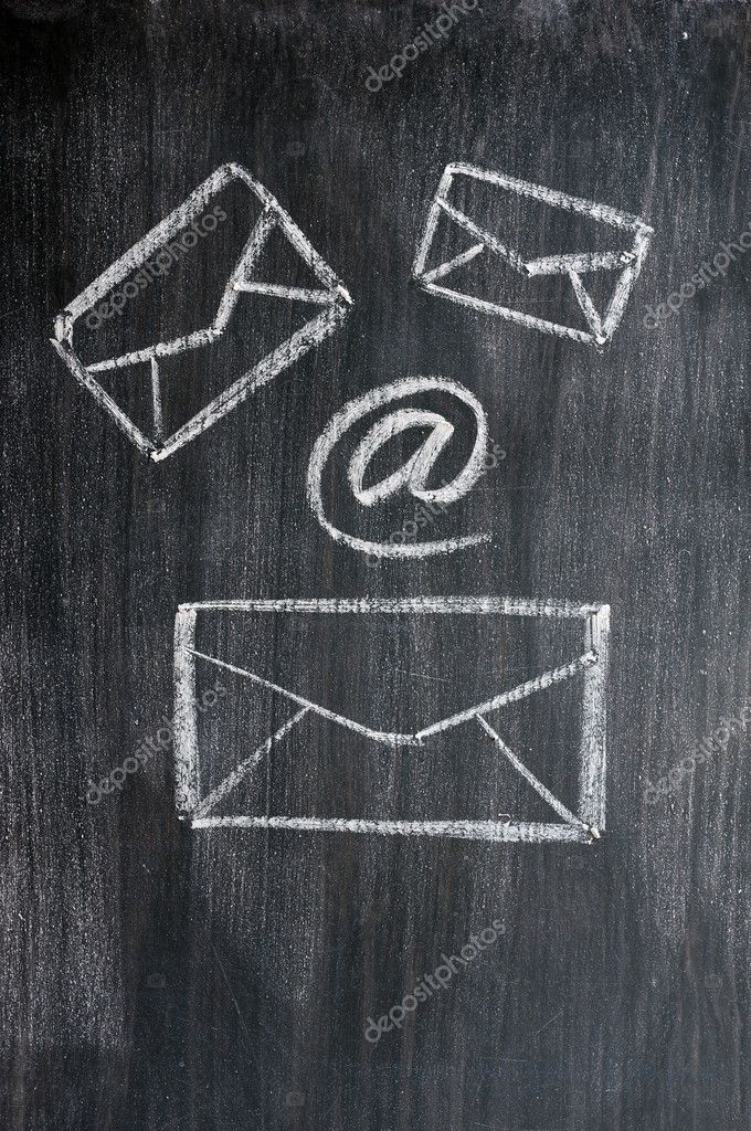Chalk drawing of email symbols on a blackboard — Stock Photo #11447029