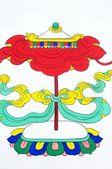 Oude tibetaanse wandschildering kunst van paraplu — Stockfoto
