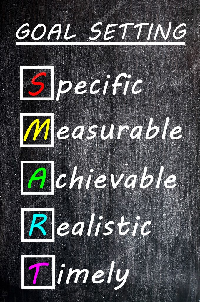 Chalk drawing of SMART Goals acronym for Specific,Measurable,Achievable,Realistic and Timely on a blackboard — Stock Photo #11476270