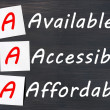 Acronym of AAA - available, accessible. affordable written on a blackboard — Stock Photo #11525461