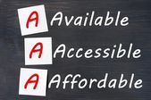 Acronym of AAA - available, accessible. affordable written on a blackboard — Stock Photo