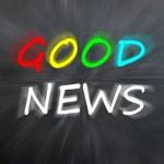 "Chalk drawing of ""Good news"" on blurred chalkboard — Stock Photo"