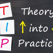 Stock Photo: TIP acronym for theory into practice written on blackboard