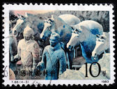 CHINA - CIRCA 1983: A stamp printed in China shows the Terracott — Stock Photo