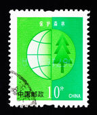 CHINA - CIRCA 2002: A Stamp printed in China shows the image of protecting the forest , circa 2002 — Stock Photo