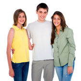 Teenage boy embracing teenage girls — Stock Photo