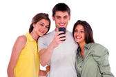 Teenagers with smartphone — Stock Photo