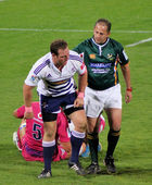 Rugby Tian Liebenberg Stormers Ref Jonathan Kaplan South Africa — Stock Photo