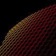 3d bent open wire mesh on black — Stock Photo