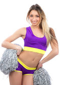 Danzatrice cheerleader cheerleading team saltando e ballando — Foto Stock