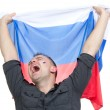 Happy russian soccer fan with russian national flag shouting — Stock Photo