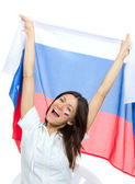 Soccer girl fan with russian national flag shouting — Stock Photo