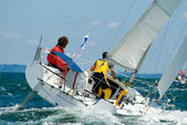Skipper on Yacht at race regatta — Stock Photo