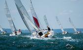 Group of yacht sailing at regatta — Stock Photo