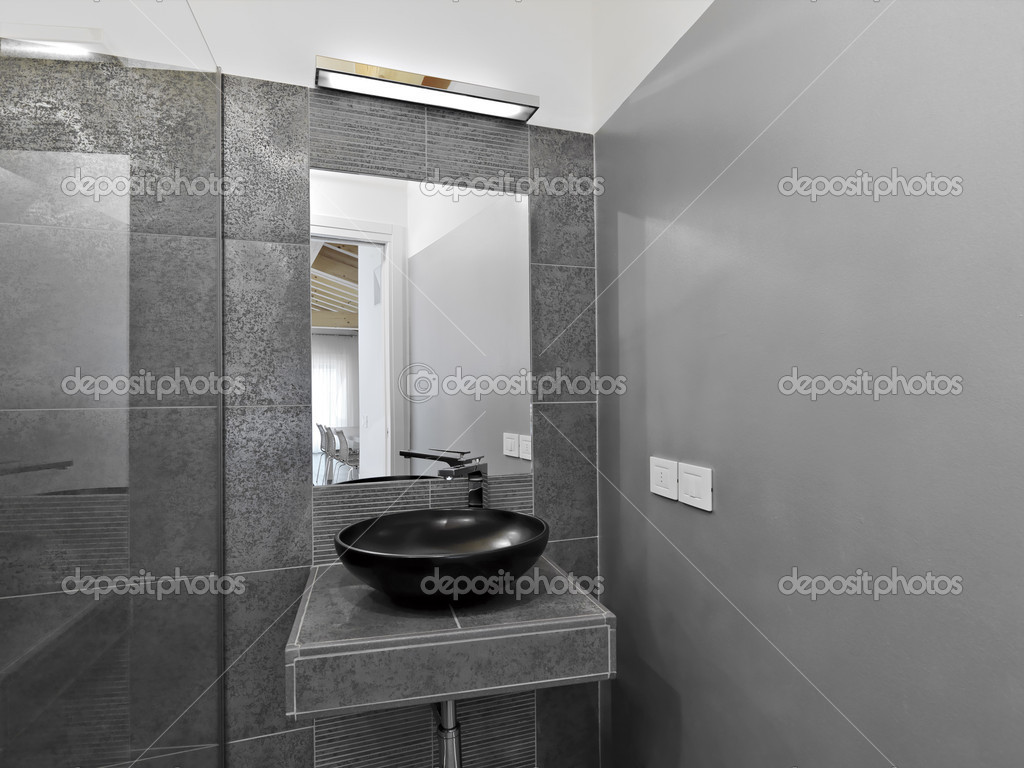 Detail of modern bathroom with gray wall — Stock Photo #11046186