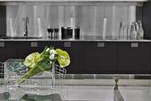 Detail of flowers in modern kitchen — Foto de Stock