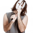 Scary bizarre masked man with knife — Stock Photo #11316129