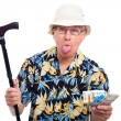 Rich elderly man making funny faces — Stock Photo