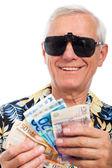 Feliz anciano rico con dinero — Foto de Stock