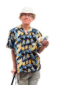 Happy elderly man with money — Stock Photo