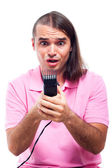 Shocked half bald man with hair trimmer — Stock Photo