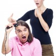 Crazy man shaving his head with hair trimmer — Stock Photo