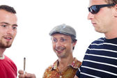 Excited guys sharing hashish joint — Stock Photo