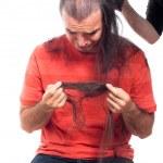 olycklig skallig man med sitt långa hår — Stockfoto #12113812