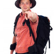 Confident backpacker pointing at you — Stock Photo #12114283