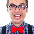 Funny nerd man laughing - Stock Photo