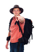Confident backpacker pointing at you — Stock Photo