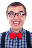 Homem nerd engraçado rir — Foto Stock
