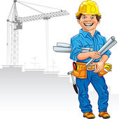 Vector cheerful engineer builder in the yellow helmet with the d — Stock Vector