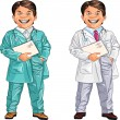 Royalty-Free Stock Imagen vectorial: Happy smiling doctor and veterinarian