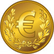 Vector gold Money euro coin — Stock Vector