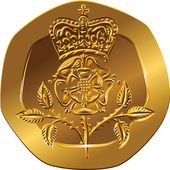 Vector British money gold coin twenty pences with the Crowned ro — Stockvektor