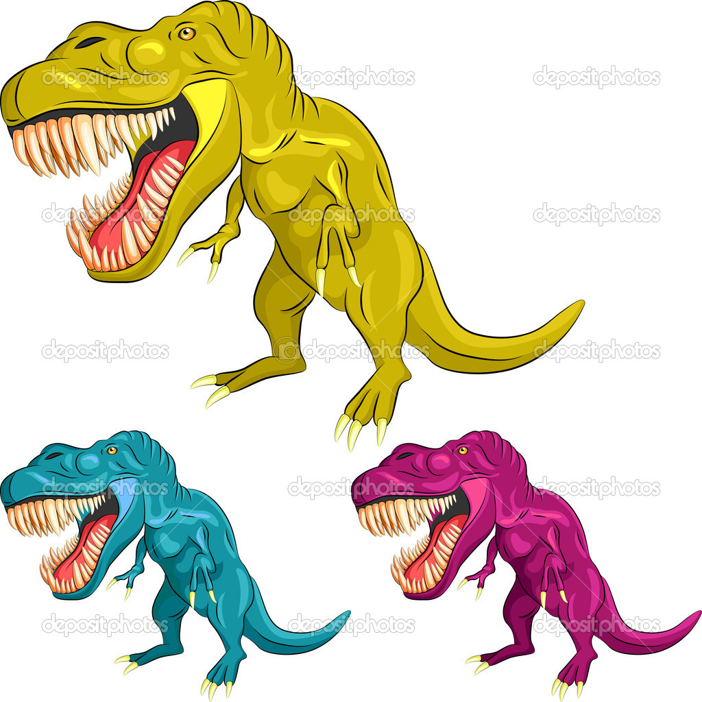 Yellow, blue, magenta Tyrannosaurus is  in a threatening posture with sharp teeth and claws — Stock Vector #11332108