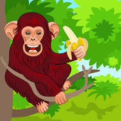 Vector happy monkey chimp in the jungle with banana — Stock Vector