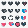 Set of heart icons. Vector — Stok Vektör