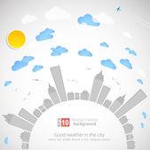 Sky-scraper. City theme background. Vector — Stock Vector