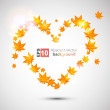 Autumn vector background. Heart form. — Imagen vectorial