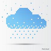 Pixel abstracto nube con lluvia. vector — Vector de stock